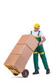 De jonge mensen bewegende die dozen met kar op wit wordt geïsoleerd Royalty-vrije Stock Fotografie