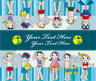 De jonge mensenkaart van de zomer Stock Afbeelding