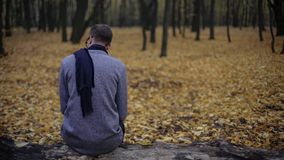 De jonge mensenzitting alleen in de herfstpark, voelt depressie, nostalgie, eenzaamheid stock fotografie