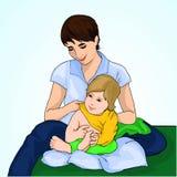 De jonge moeder kleedt de baby De zorgvuldige vrouw draagt jasje aan een klein kind motherhood Vector illustratie stock illustratie