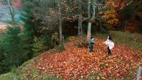 De jonge mooie moeder en haar weinig zoon hebben pret in het de herfstbos zij springen en bladeren in de lucht werpen zij stock videobeelden