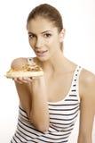 De jonge mooie vrouw eet pizza Royalty-vrije Stock Afbeelding