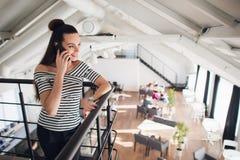 De jonge mooie vrouw met bruin haar kijkt opzij terwijl het spreken op een smartphone Een charmante donkerbruine vrouwelijke stud Stock Fotografie