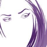 De jonge schets van het vrouwenportret stock illustratie