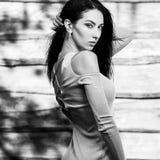 De jonge sensuele & schoonheids donkerbruine vrouw stelt tegen houten achtergrond Zwart-witte foto Stock Foto