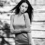 De jonge sensuele & schoonheids donkerbruine vrouw stelt tegen houten achtergrond Zwart-witte foto Stock Afbeelding