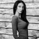De jonge sensuele & schoonheids donkerbruine vrouw stelt tegen houten achtergrond Zwart-witte foto Stock Fotografie