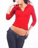 De jonge sexy vrouw in rood chemise stock foto's