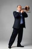 De jonge Speler van de Trombone royalty-vrije stock fotografie
