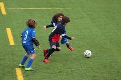 De jonge spelers spelen voetbal stock fotografie