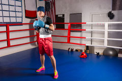 De jonge sportieve mannelijke bokser in bokshandschoenen treft voor slag voorbereidingen royalty-vrije stock afbeelding