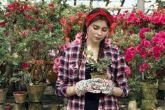 De jonge sportieve mooie tuinman met gelezen hoofdbandholding plant ter beschikking royalty-vrije stock fotografie