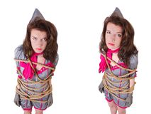 De jonge stewardess klopte met een kabel stock afbeeldingen