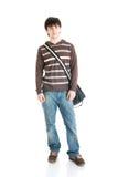 De jonge student die op een wit wordt geïsoleerda Royalty-vrije Stock Fotografie