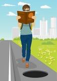 De jonge student wordt geabsorbeerd in boek gaat naar gevaarlijk open onbeveiligd broedsel op weg vector illustratie