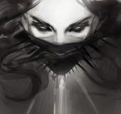 De jonge tekening van het vrouwengezicht in gotische zwarte stijl Stock Foto's