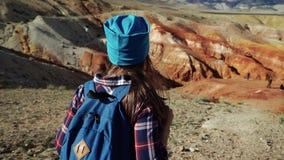 De jonge toeristenvrouw loopt in een toneellandschap in het midden van de rode steenbergen Achter mening stock videobeelden