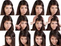 De jonge uitdrukkingen van het meisjesgezicht Royalty-vrije Stock Fotografie