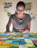 De jonge vrouw in abstract concept met aardfoto's Royalty-vrije Stock Afbeeldingen