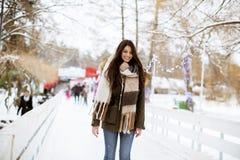 De jonge vrouw berijdt schaatsen in het park stock afbeelding
