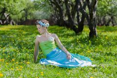 De jonge vrouw in de lenteweide Stock Afbeeldingen