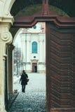 De jonge vrouw in de winterkleren loopt haar hond binnen Strahov-Klooster stock afbeelding