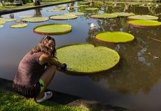 De jonge vrouw dichtbij de fontein, zette haar hand in het water royalty-vrije stock afbeeldingen