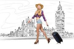 De jonge vrouw die naar Londen in het UK reizen Royalty-vrije Stock Foto's