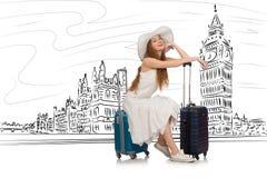 De jonge vrouw die naar Londen in het UK reizen Stock Foto