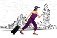 De jonge vrouw die naar Londen in het UK reizen Royalty-vrije Stock Afbeelding