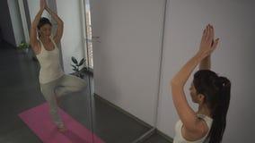 De jonge vrouw die yoga doet stelt boom voor de spiegel stock footage