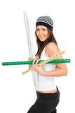 De jonge vrouw draagt verpakkende pager Stock Afbeelding