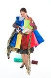 De jonge vrouw gaat winkelend Stock Foto