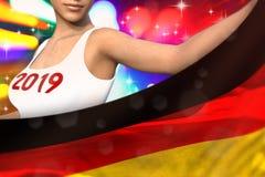 De jonge vrouw houdt de vlag van Duitsland vooraan op de partijlichten - Kerstmis en van de het Nieuwjaarvlag van 2019 het concep vector illustratie