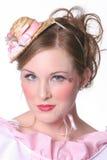 De jonge Vrouw kleedde zich als pop Royalty-vrije Stock Foto's