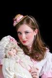 De jonge Vrouw kleedde zich als pop Stock Foto
