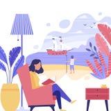 De jonge vrouw leest een boek royalty-vrije stock afbeelding