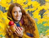 De jonge vrouw loopt in het de herfsthout Royalty-vrije Stock Fotografie