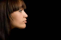De jonge vrouw met bruin haar ? Stock Afbeelding