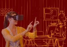 de jonge vrouw met 3D glazen overlapt met nieuwe bureau oranje lijnen op donkerrode achtergrond Stock Foto's