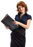 De jonge vrouw met documenten royalty-vrije stock afbeeldingen