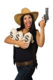 De jonge vrouw met kanon en geldzakken Royalty-vrije Stock Foto's