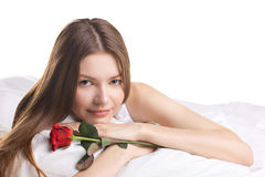 De jonge vrouw met nam in toe bedelt Royalty-vrije Stock Afbeelding