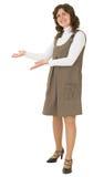 De jonge vrouw om te zijn nodigt gebaar uit Royalty-vrije Stock Foto