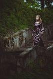 De jonge vrouw op een ladder in het hout Royalty-vrije Stock Foto's
