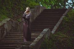 De jonge vrouw op een ladder in het hout stock foto's