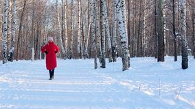 De jonge vrouw in rood de winterjasje en gevoelde laarzen loopt in schilderstadspark met berken in ijzige zonnige de winterdag stock video
