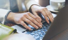 De jonge vrouw schrijft thuis handen een sms-bericht op laptop toetsenbord met een lege lege het schermmonitor terwijl het hebben royalty-vrije stock fotografie