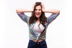 De jonge vrouw toont zij niet van u wil horen Stock Fotografie