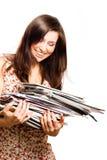 De jonge vrouw van de schoonheid met tijdschriften Royalty-vrije Stock Foto